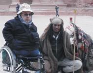 Na snímke kandidát KDH – Ján Miho a cestovateľ,ktorý na vozíčku precestoval takmer pol zemegule