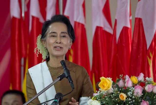 Na snímke líderka mjanmarskej opozície Aun Schan Su Ťij