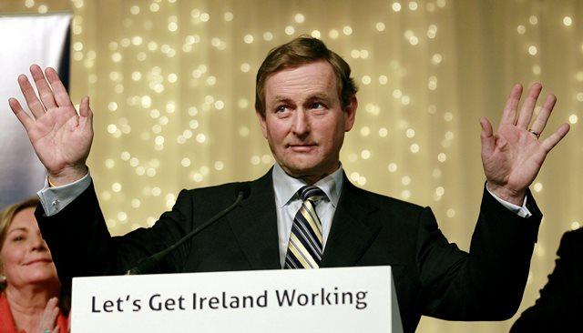 Na snímke líder írskej strany  Fine Gael Enda Kenny