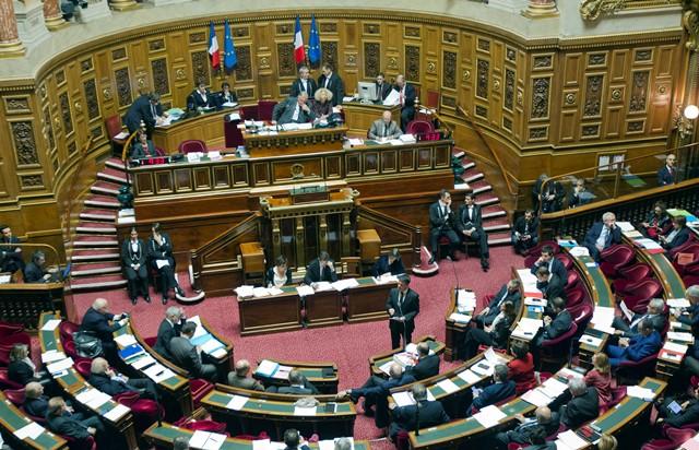 Na snímke francúzsky premiér Manuel Valls stojí pred poslancami Senátu