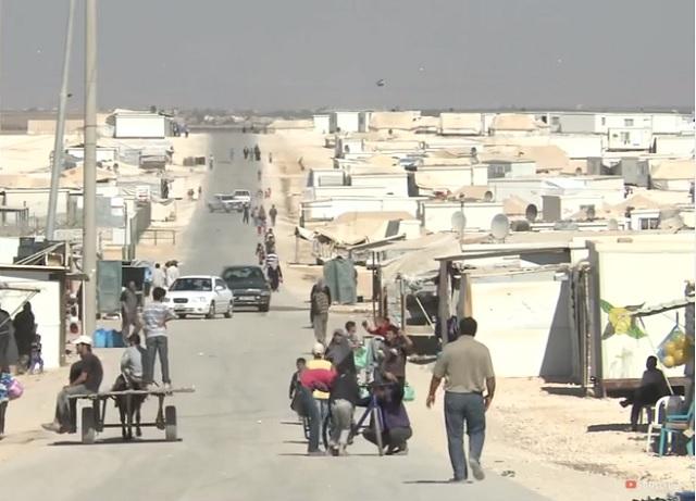 Záber na tábor migrantov v Jordánsku