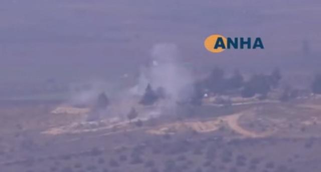 Snímka z ostreľovania sýrskych pozícií Turkami