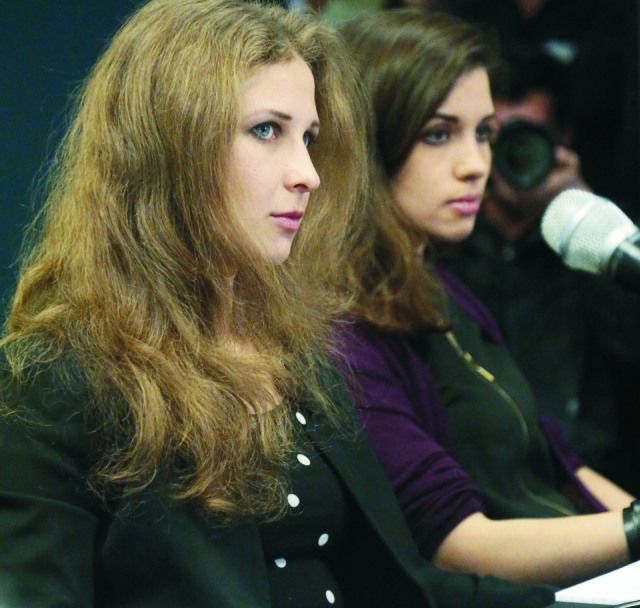 Dve členky ruskej protestnej skupiny Pussy Riot Maria Aľjochinová a Nadežda Tolokonnikovová
