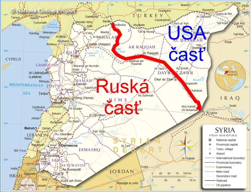 Podľa informácii izraelského servera Debkafile si mocnosti takto rozdelili sféry vplyvu v Sýrii