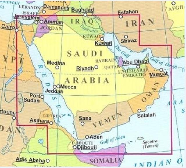 Mapka Saudská Arábia