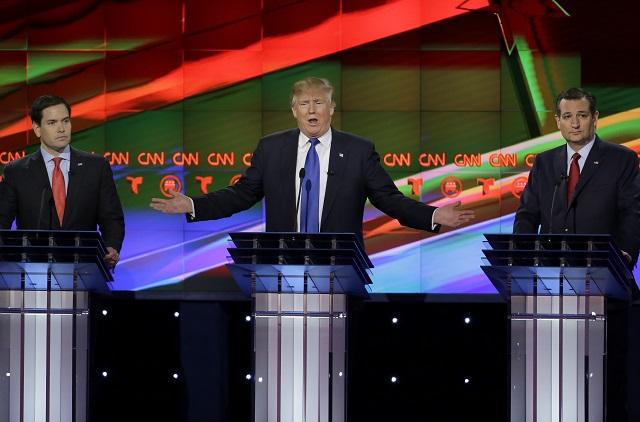 Na snímke zľava Marco Rubio,Donald Trump a Ted Cruz