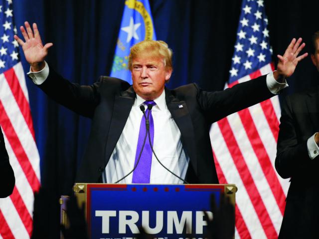 Republikánsky kandidát na post amerického prezidenta Donald Trump reční 23. februára 2016 v Las Vegas. Donald Trump sa stal víťazom utorkových volebných zhromaždení republikánov v štáte Nevada