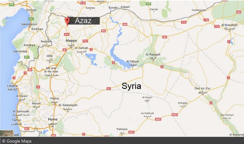Turecké delostrelectvo ostreľuje letisko v blízkosti mesta Al – Majadin neďaleko mesta Azaz