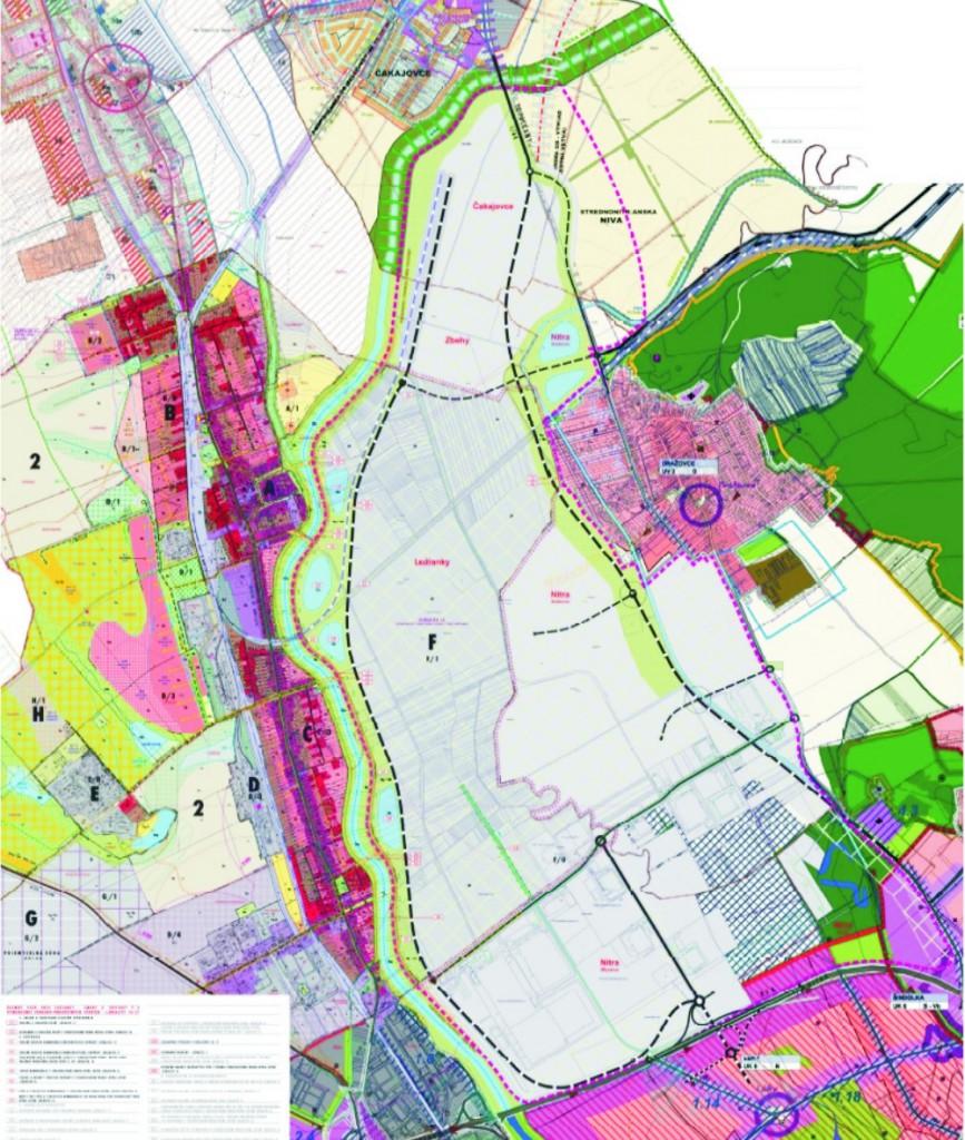Na snímke Uzemný plán mesta Nitra s vyznačením lokality záujmového územia