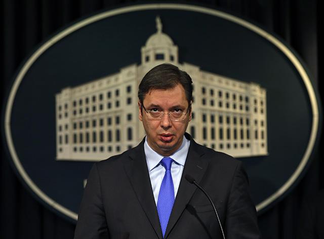 Na snímke srbský premiér Aleksandar Vučič