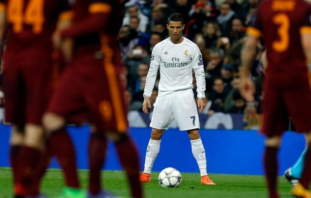 Hráč Realu Madrid Cristiano Ronaldo počas odvety osemfinále Ligy majstrov Real Madrid - AS Rím