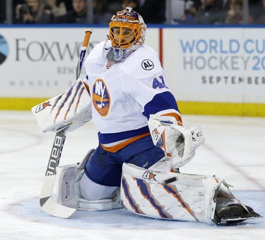 Na snímke slovenský brankár New York Islanders Jaroslav Halák