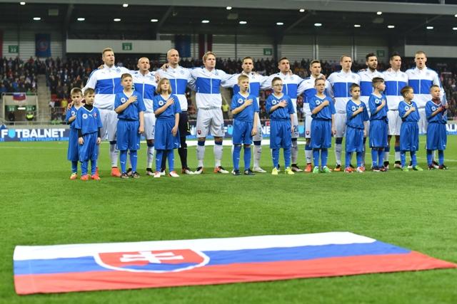 Na snímke základná zostava Slovenska v priateľskom zápase Slovensko - Lotyšsko