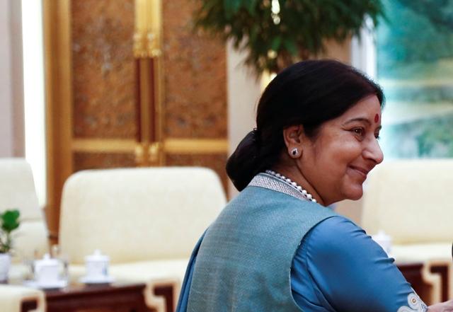 Na snímke indická ministerka zahraničných vecí Sušma Svarádžová