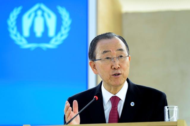 Na snímke generálny tajomník OSN Pan Ki-mun reční na jednodňovej konferencii OSN zameranej na presídlenie sýrskych utečencov