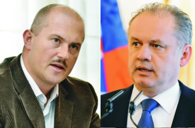 Na snímke vľavo predseda Banskobystrického samosprávneho kraja Marian Kotleba a prezident SR Andrej Kiska