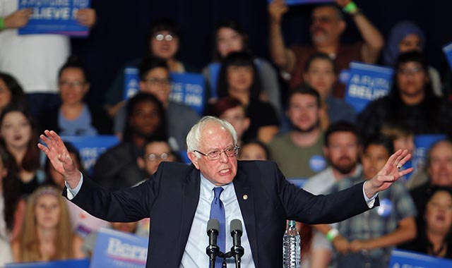 Americký demokratický prezidentský kandidát Bernie Sanders