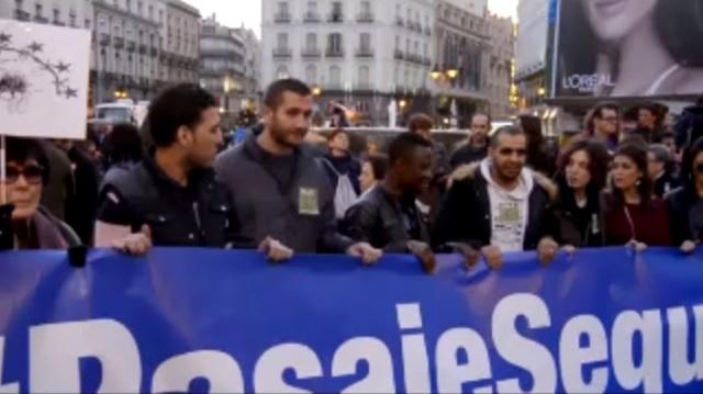Snímka zo španielskych protestov proti navrhovanej dohode EÚ s Tureckom