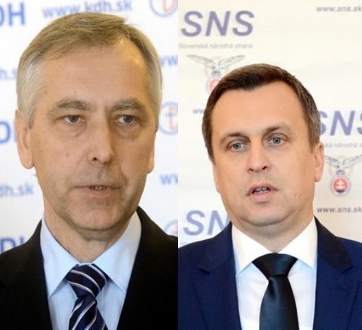 Na snímke predseda Slovenskej národnej strany (SNS) Andrej Danko a líder KDH Ján Figeľ