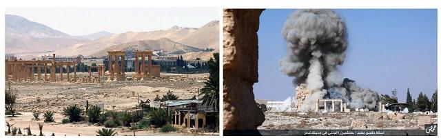 Kombo snímka starobylého rímskeho mesta Palmýra a výbuch starovekého chrámu boha Baalššamína z čias Rímskej r횹e v Palmýre