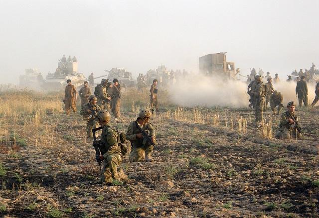 Členovia Kurdských bezpečnostných síl počas vojenskej operácie