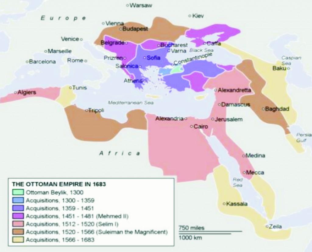 Mapa Osmanskej ríše