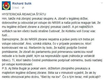 Richard Sulík na sociálnej sieti vyjadril svoj nesúhlasný názor na šikanovanie poslanca Krupu políciou