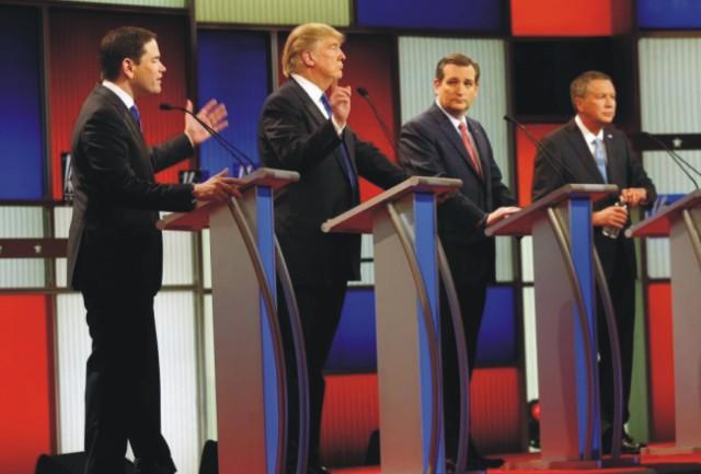 Na snímke republikánski kandidáti na amerického prezidenta zľava Marco Rubio, Donald Trump, Ted Cruz a John Kasich