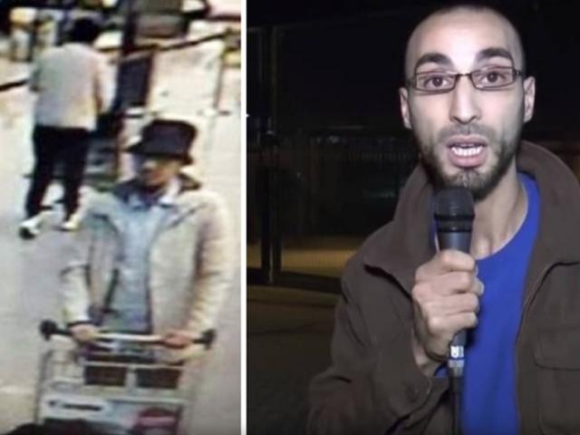 Na snímke vľavo džihádista na letisku tesne pred výbuchmi, vpravo tá istá osoba ako novinár a aktivista za práva migrantov