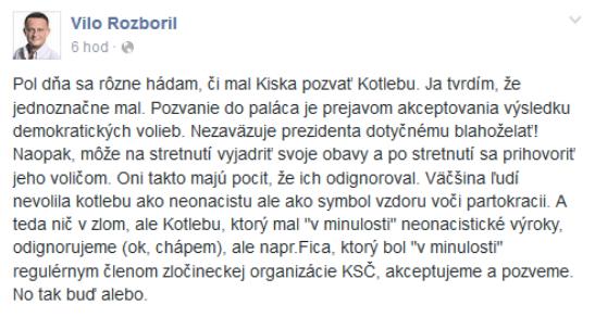 Status Vila Rozborila na facebooku