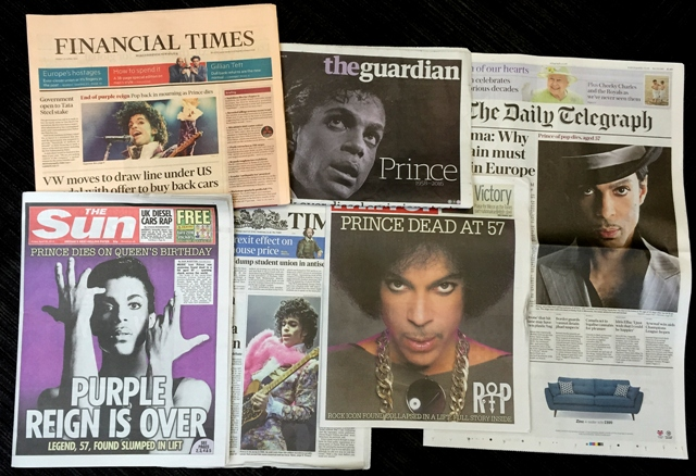 Snímka titulných strán britských denníkov, ktorým dominovala správa o úmrtí amerického hudobníka, speváka a producenta Princea