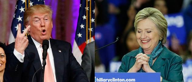 Na snímke Donald Trump (vľavo) a Hillary Clintonová