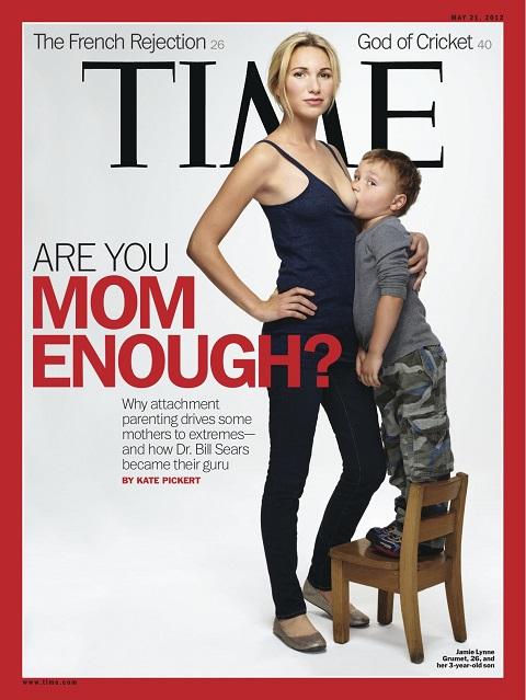 Na obálke amerického magazínu Time s dátumom vydania 21. mája 2012 je Jamie Lynne Grumetová, ktorá sa dala odfotiť, ako kojí svojho štvorročného syna