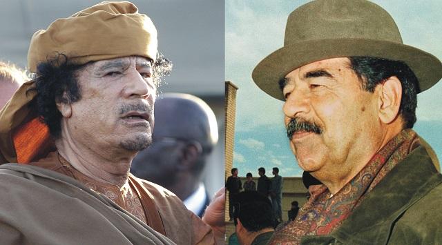 Na archívnej snímke Muammar Kaddáfi a Saddám Hussajn