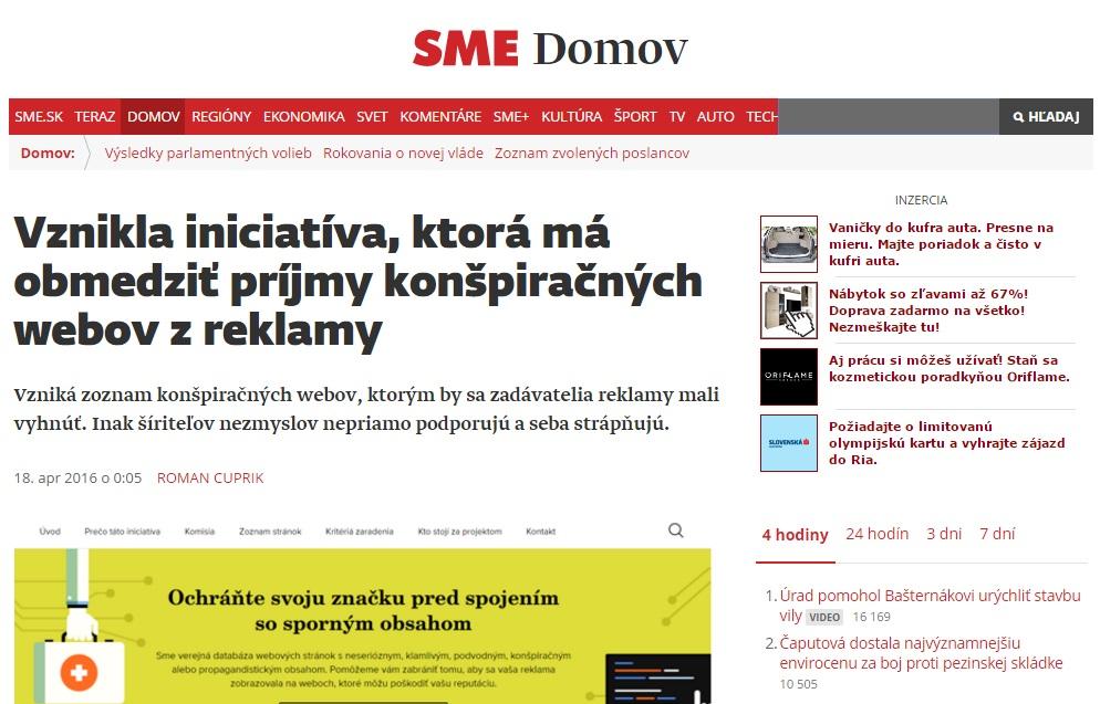 Špinavý útok proti konkurencii SME odštartovalo týmto článkom