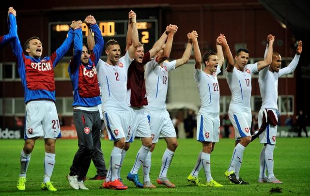Na snímke českí futbalisti