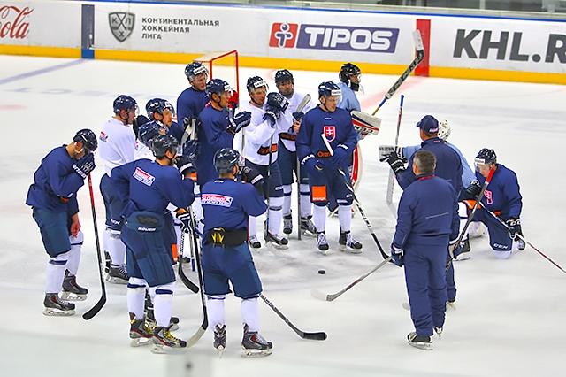 Na snímke slovenský tím počas prípravy na MS v Rusku