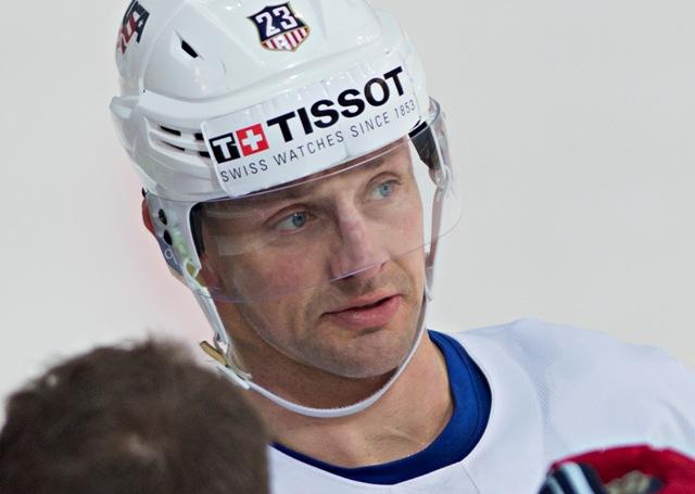 Na snímke kapitán tímu Matt Hendricks počas tréningu amerického hokejového tímu na Majstrovstvách sveta v ľadovom hokeji