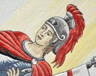 Výšivka sv. Floriana: ukážka techniky výšivky – maľba ihlou. Táto najdokonalejšia technika výšivky umožňuje motívy plasticky vykresliť a vytieňovať