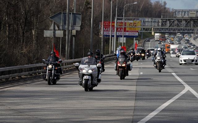 Na snímke motorkári z ruského klubu Noční vlci