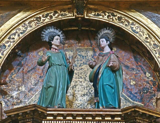 Svätí Julián a Basilissa znázornení v chráme vo Valladolite, v Španielsku