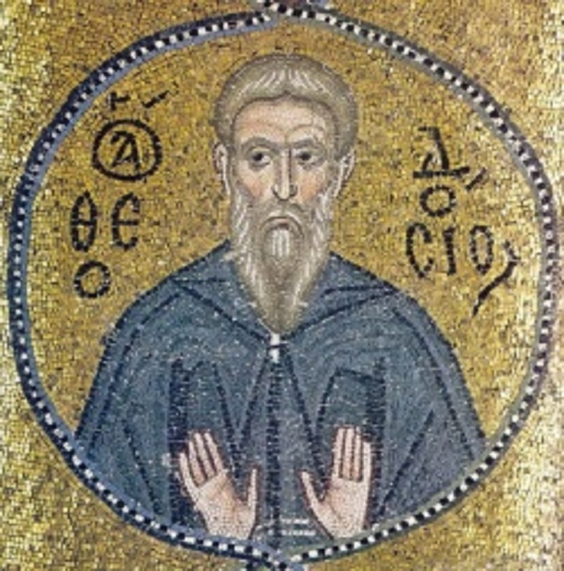 Svätý Theodosius, mozaika v Nea Mani