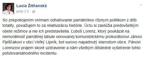 Do diskusie k prípadu sa zapojila ja ministerka spravodlivosti Lucia Žitňanská na svojom facebookovom profile