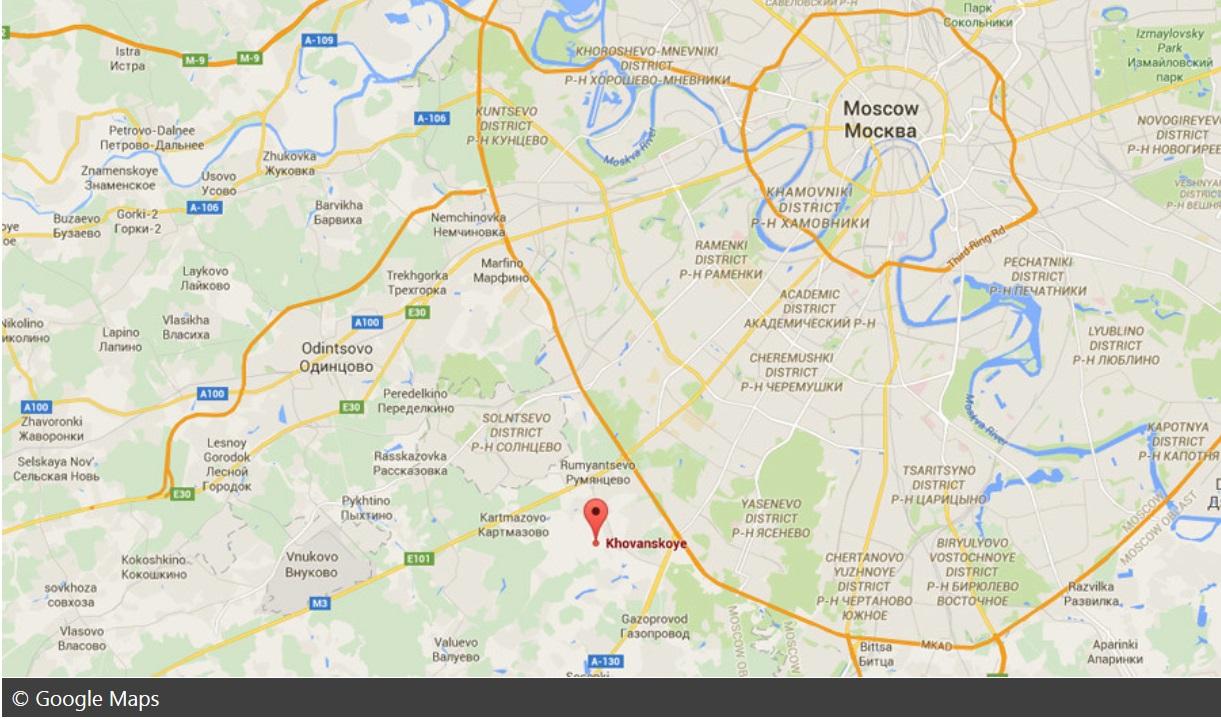 Na mape vyznačené miesto, kde sa nachádza cintorín, na ktorom došlo k hromadnej bitke