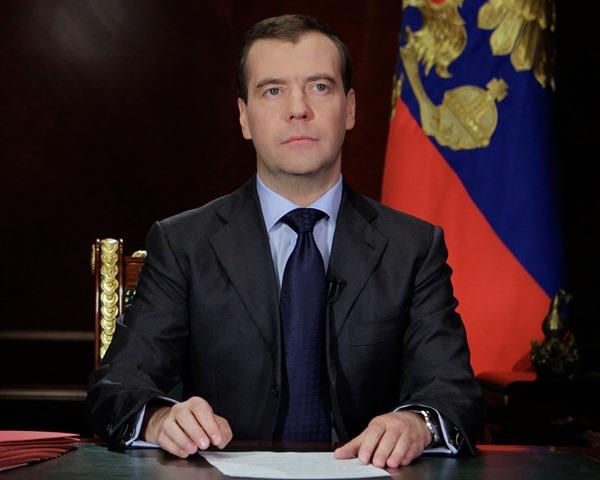 Na snímke  Dmitrij Medvedev