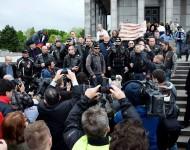 Ruskí motorkári zklubu Noční vlci spolu skolegami sviacerých európskych krajín včera predsa dorazili do Bratislavy