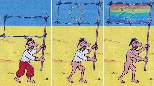 Karikatúra názorového vývoja bežného Ukrajinca