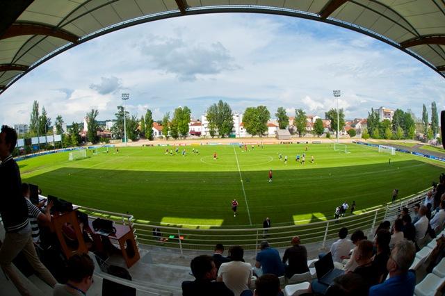 Snímka z tréningu slovenskej futbalovej reprezentácie v tréningovom centre pred začiatkom majstrovstiev Európy 2016 vo futbale vo francúzskom Vichy