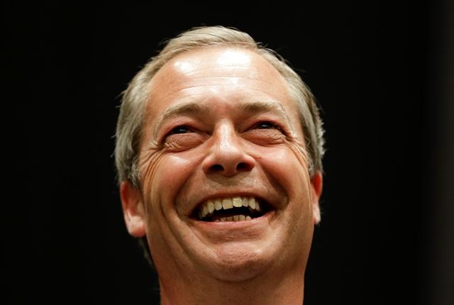 Na snímke líder Strany nezávislosti Spojeného kráľovstva (UKIP) Nigel Farage