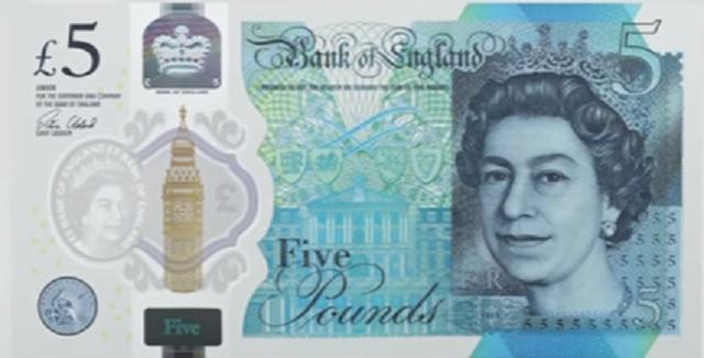 Takto bude vyzerať predná strana novej plastovej polymérovej 5-librovej bankovky